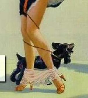 A woman whose panties have fallen around her ankles while walking her dog