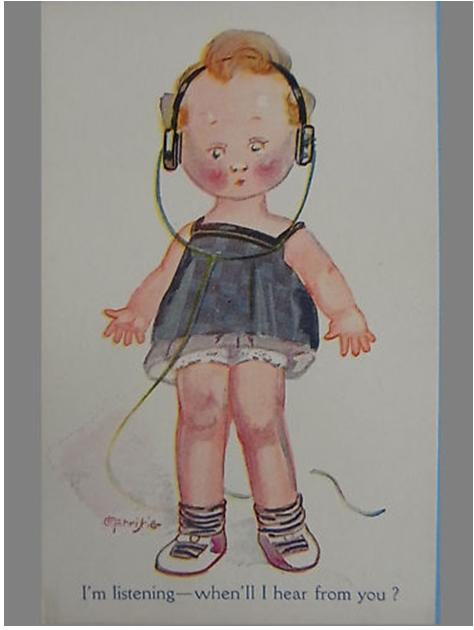 Cute picture of little girl wearing headphones